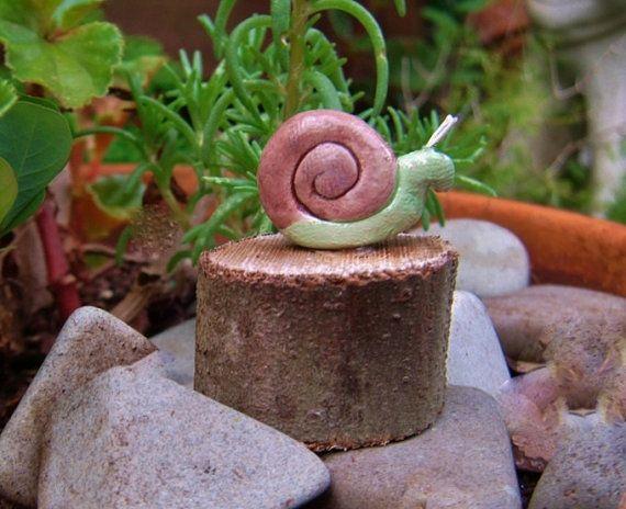 Fairy Garden Snail Miniature Snail  by HickoryHillWoodworks, $6.00