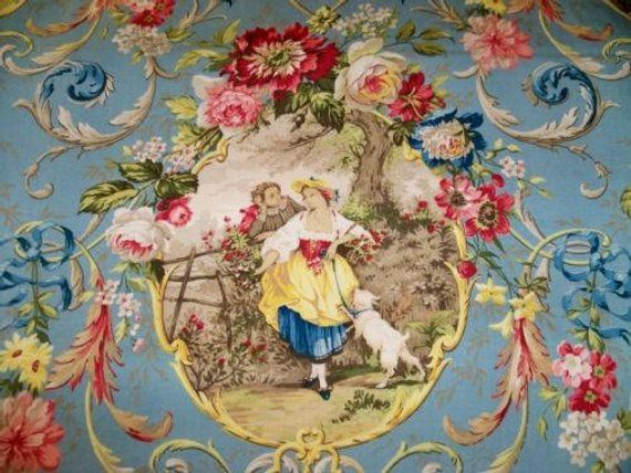 Fragonard Extremely Rare Fabric 9 Yds Richloom Cornflower Blue