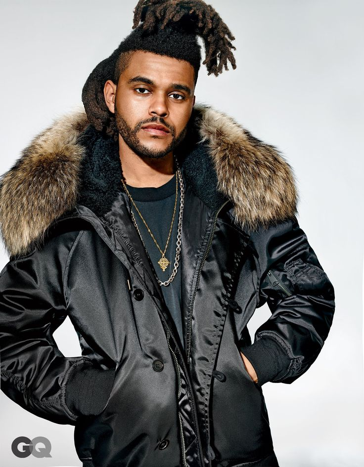 Abel Tesfaye a.k.a. The Weeknd in adidas x YEEZY SEASON 1 super sized flight jacket parka w/ coyote fur collar, for GQ.