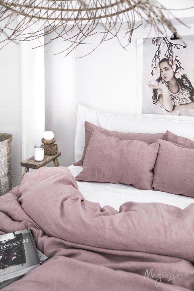 Dusty Pink Linen Duvet Set In 2021 Bed Linens Luxury Washed Linen Duvet Cover Bedroom Design