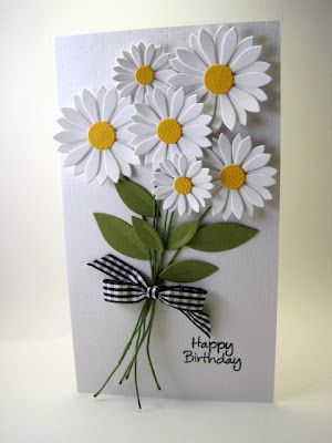 "Daisy Dies from My Favorite Things, Hero Arts sentiment, floral wire, Papertrey Canvas/Linen Impression plate, and gingham ribbon.  My card measures 4"" x 7"""