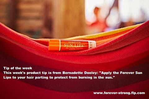"""Tip of the week This week's product tip is from Bernadette Dooley: """"Apply the Forever Sun Lips to your hair parting to protect from burning in the sun.""""  Please visit  www.forever-strong.flp.com"""