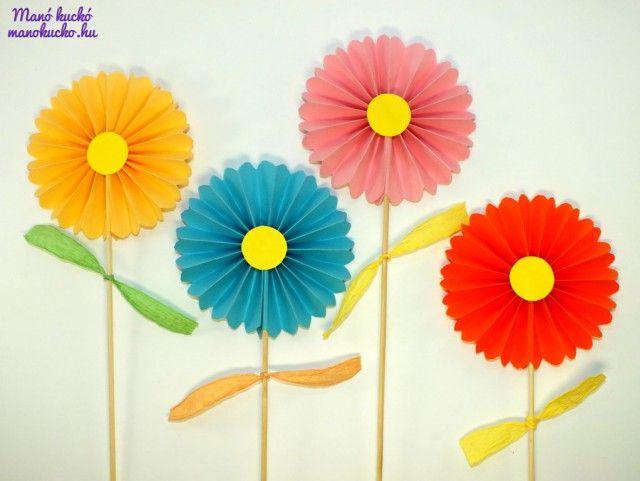 Papír virág harmonika hajtogatással - Manó kuckó