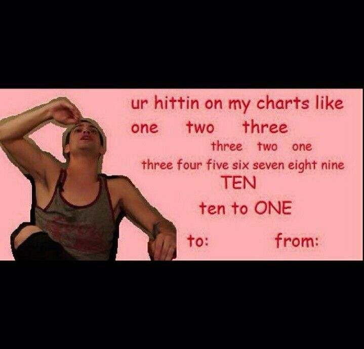 Band Valentine cards~ if you didn't know, this is from Brendon Urie attempting to tell the history of Fall Out Boy