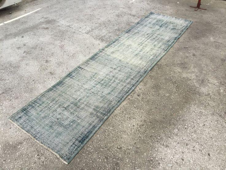 Blue Turkish Motif VINTAGE ANATOLIAN OVERDYED Rug Carpet 10'5 x 2'8 by EclecticRug on Etsy