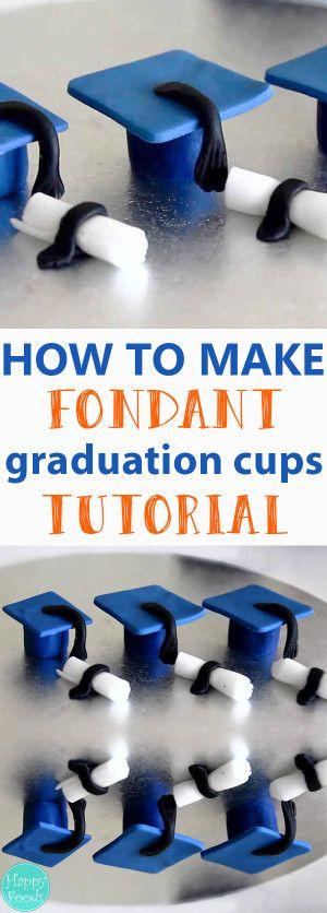 How to make Sugar Paste Fondant Graduation Caps & Diplomas - Cake Toppers, Cake Decorating, Tutorial, Sugarcraft, Sugarart, Fondant Icing   happyfoodstube.com