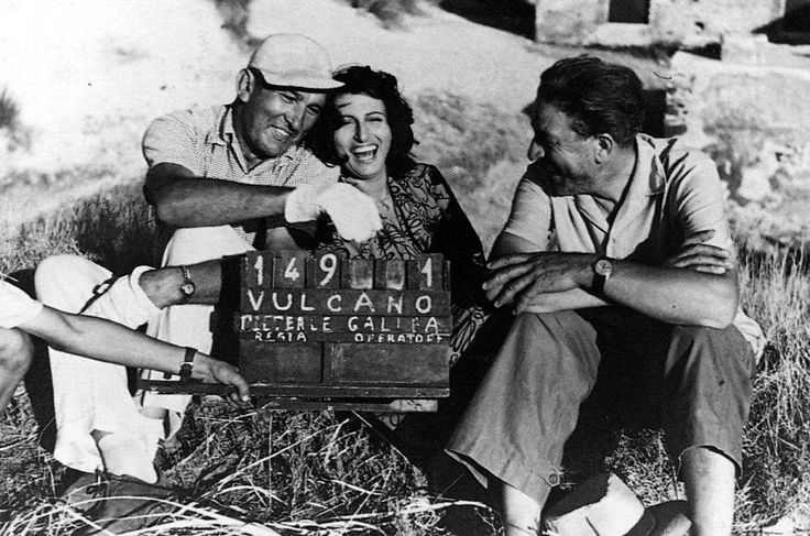 Hilarity strikes director William Dieterle, Anna Magnani and cinematographer Arturo Gallea between scenes of Vulcano,1950