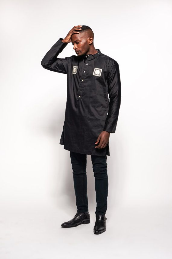 Polished Cotton Woodin African Men's Tunic by KwestomarKreations