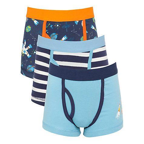 7b4f6ea0ff35 John Lewis Boy Space Print Trunks, Pack of 3, Navy/Blue   Boys   Boys, Space,  Trunks