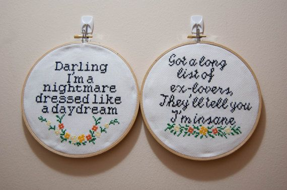 Taylor Sift finished cross stitch two by CrossStitchedSass on Etsy