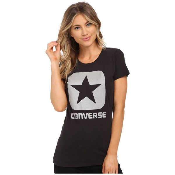 Converse Reflective Box Star Tee Women's T Shirt ($25) ❤ liked on Polyvore featuring tops, t-shirts, cotton jersey, crew-neck tee, sports t shirts, cotton t shirt and crew neck t shirt