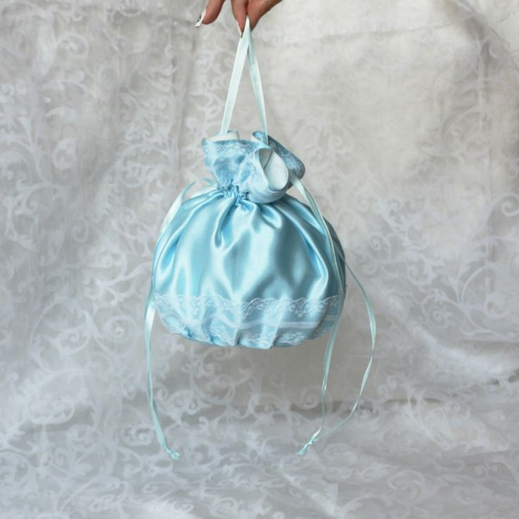 Pompadour purse evening handbag wristlet drawstring reticule blue white satin by AlicesLittleRabbit on Etsy