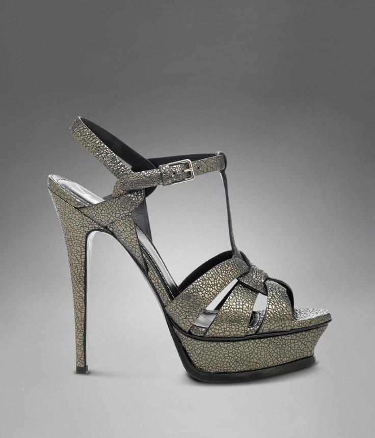 YSL Tribute High Heel Sandal in Gunmetal Leather - Sandals \u2013 Shoes ...