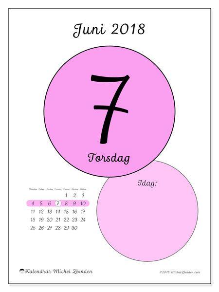 Kalender juni 2018 (45-7MS). Kalender för dagen att skriva ut gratis.