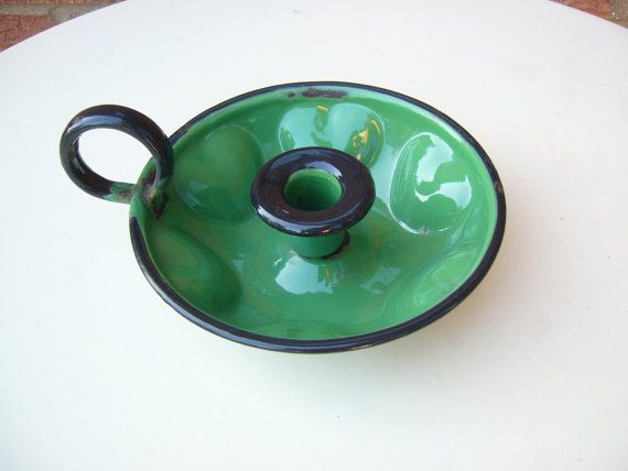 Vintage green enamel candle holder by FieldfareVintage on Etsy
