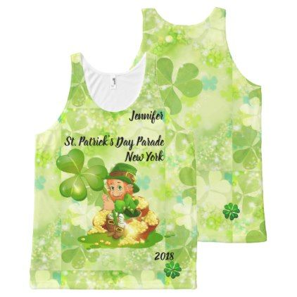 St. Patrick's Day Parade YOUR NAME & CITY & YEAR All-Over-Print Tank Top - st. patricks day gifts irish ireland green fun party diy custom holiday