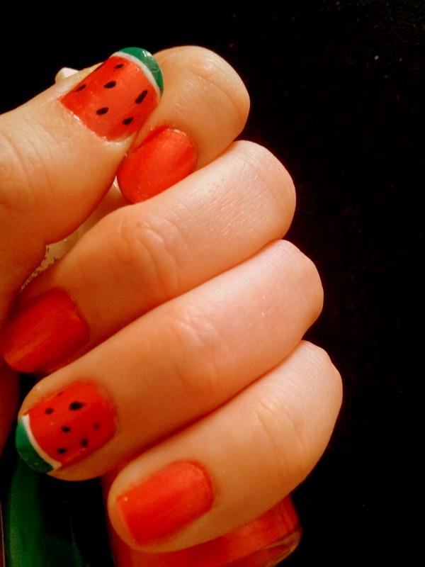 sweet watermelon nails