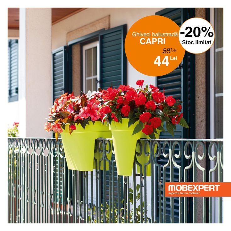Ghiveciul Capri infrumuseteaza balustrada balconului cu plante pline de viata. Acesta are un sistem special de prindere si permite scurgerea apei, asigurand functionalitatea de care aveti nevoie pentru a crea plantelor un mediu propice. #ghiveci #terasa #gradina #mobexpert