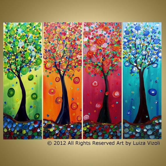 SEASON TREES Original Whimsical Flowers Landscape Large Multi Panel Painting