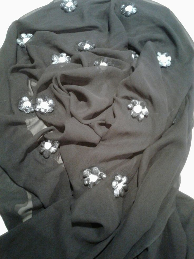black silk chiffon wrap with upwolfing flowers in black and white merino and silver silk.