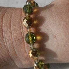 Bracciale, con perle in mezzo cristallo colorato