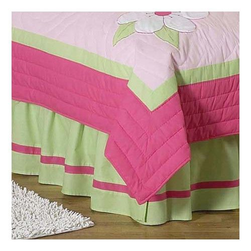 Found it at Wayfair - Flower Pink and Green Queen Bed Skirt
