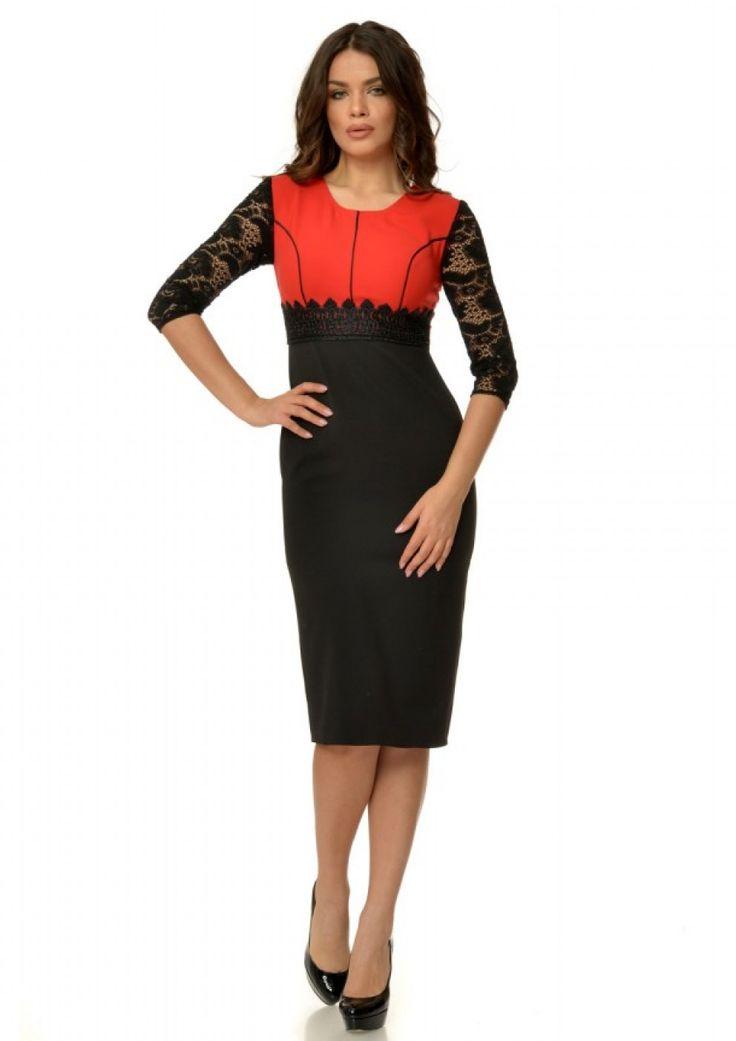 Rochie eleganta cu maneci din dantela negru si rosu R235i061