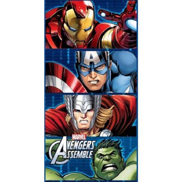 Flot og lækkert badehåndklæde med superheltene Ironman, Captain America, Thor og Hulk som farverigt motiv. Badehåndklædet er i 100% bomuld og måler 140 cm x 70 cm