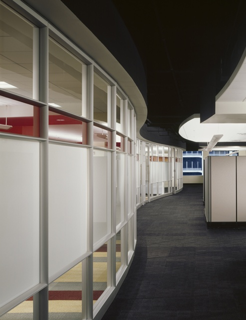Dirtt interior curved wall and dropped ceiling rendered for Commercial design software