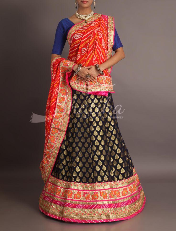 Naina Devi Black Brocaded With Heavy Work Border Contrast Leheriya Odhani Royal Rajasthani Lehenga