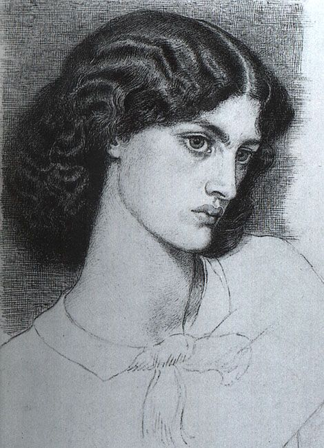 Portrait of Jane Burdon (later Jane Morris), 1858, pen, Dante Gabriel Rossetti
