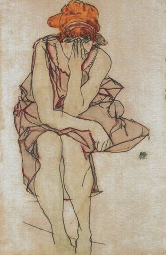Egon Schiele. Seated Young Lady 1917