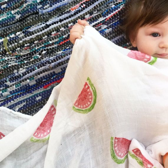 Bamboo Muslin Swaddle Blanket Hand Stamped Watermelon Blanket