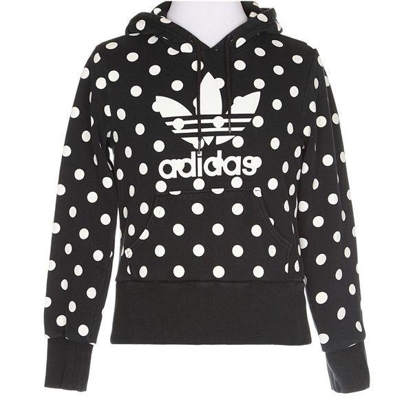 Adidas Black and Cream Polka Dot Print Hoody ❤ liked on Polyvore featuring tops, hoodies, black hooded sweatshirt, black hoodie, hooded pullover, adidas hoodies and adidas hoodie