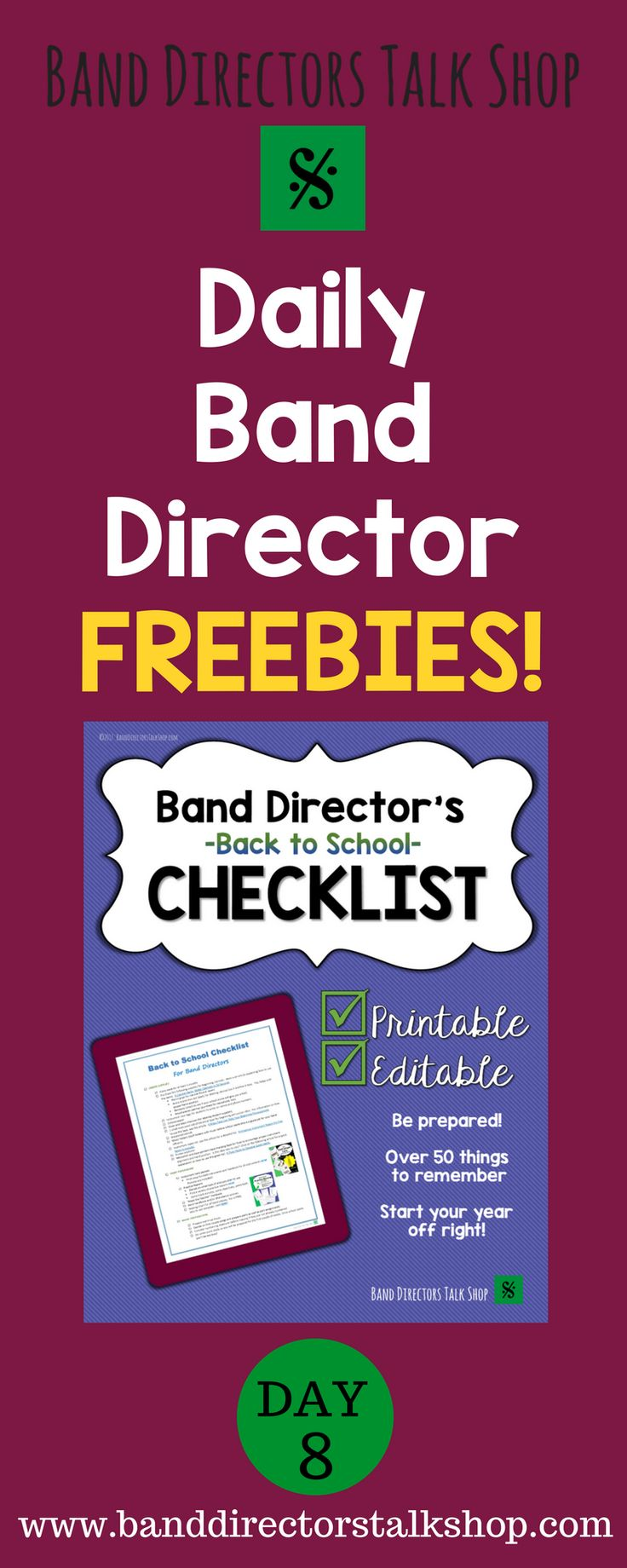 Daily Freebies for beginning band or elementary music! Visit Band Directors Talk Shop on Teachers Pay Teachers for band lesson plans, band games, band activities, band bulletin board sets, rhythm games, note name games, music word walls, practice records, rehearsal techniques, woodwind, brass and percussion instrument care, band teaching strategies, motivational quotes and more!