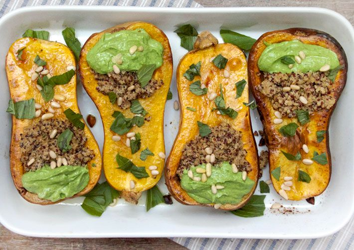 Simple Roasted Squash with Tahini Quinoa and Basil Avocado Puree | Deliciously Ella
