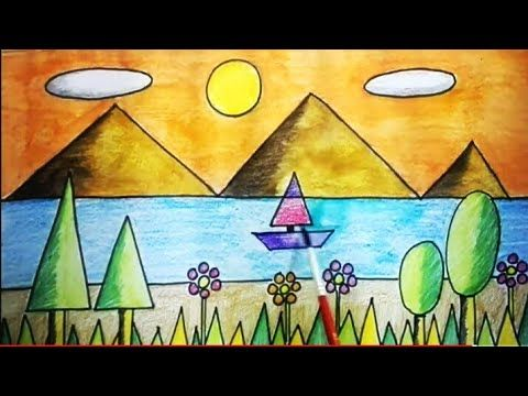 shapes using scenery geometrical drawing draw 2d geometric drawings easy grade lessons
