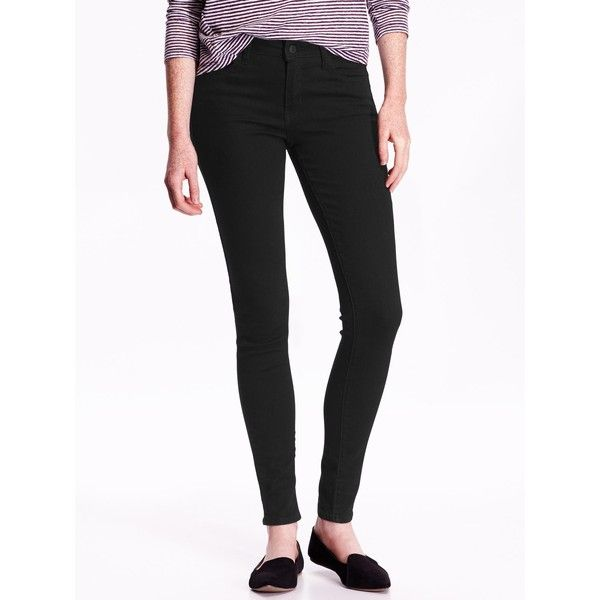 Old Navy Womens Mid Rise Rockstar Skinny Jeans ($17) ❤ liked on Polyvore featuring jeans, black, pants, mid-rise, rockstar, stretch denim skinny jeans, stretchy skinny jeans, denim skinny jeans, old navy skinny jeans and mid rise jeans