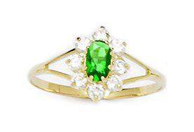 14k Yellow Gold Dark Green CZ Size 5.5 Oval Flower Childrens Ring - JewelryWeb JewelryWeb. $113.80