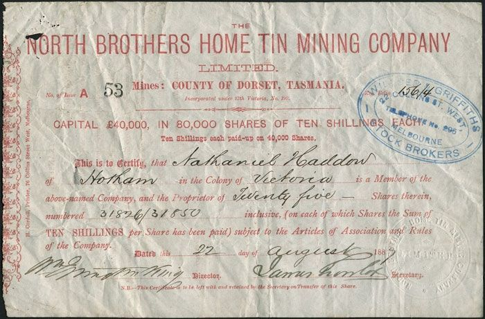 'The North Brothers Home Tin Mining Company Limited, Mines County of Dorset Tasmania..22 August 1887.