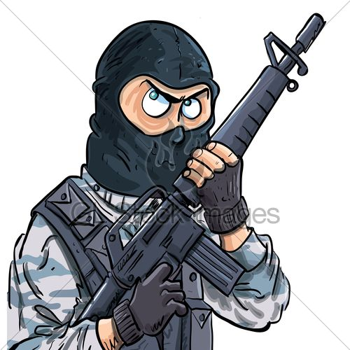 cartoon swat member with a gun  isolated on white