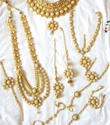 Buy GOLD PLATED PEARLBRIDAL DULHAN NECKLACE EARRING TIKA PANJA SET bridal-set online