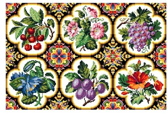 Fruit and floral. Cross stitch pattern. Instant download