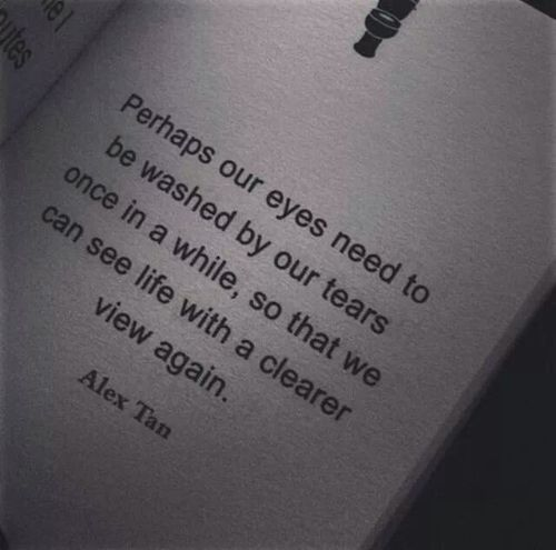 """perhaps our eyes need to be washed by our tears once in a while, so that we can see life with a clearer view again."" -alex tan"