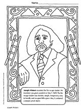 coloring page of joseph winters an african american inventor for black history