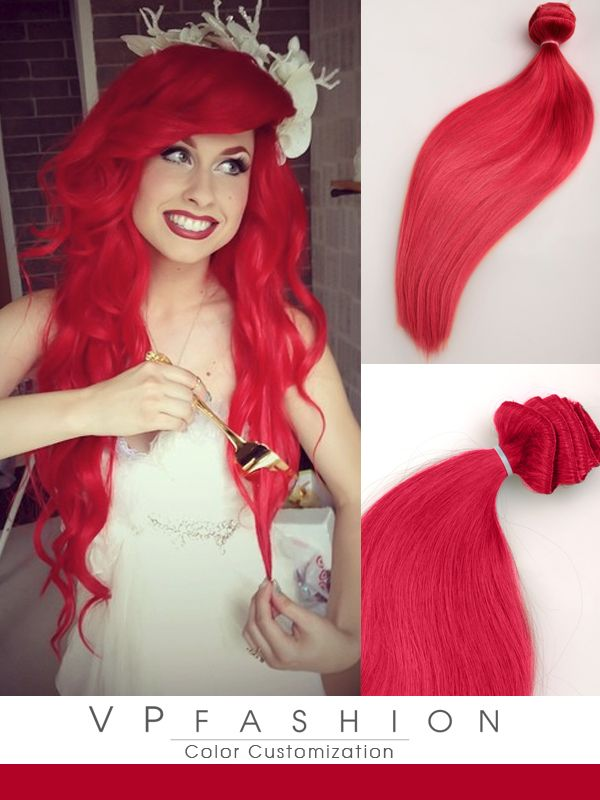 hot solid red mermaid colorful india remy clip hair extension-cs039