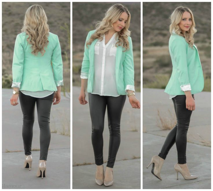 Fall Pastels :: Grey Leather and Mint Green Wearing white studded blouse | Grey leather leggings