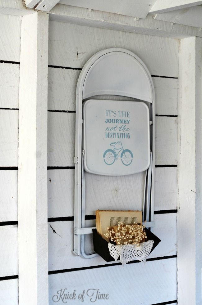 upcycled folding chair and bread tin wall bin - KnickofTime.net