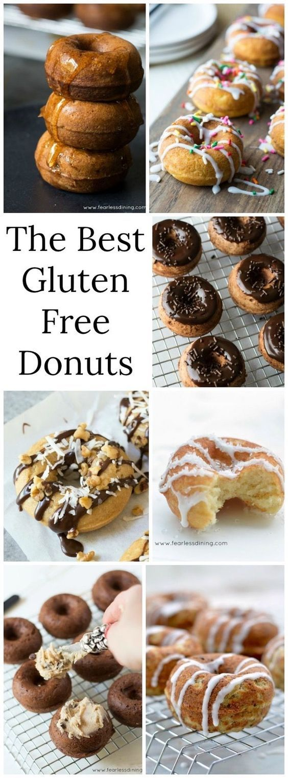 Here are some of the best gluten free donut recipes. Gluten free donuts, gluten free dairy free donuts, and paleo donuts. Many donuts are also nut free! Gluten free baked donuts are much healthier than fried doughnuts. www.fearlessdining.com #donuts #glutenfree #glutenfreedonuts #healthydonuts #easydonutrecipe via @fearlessdining