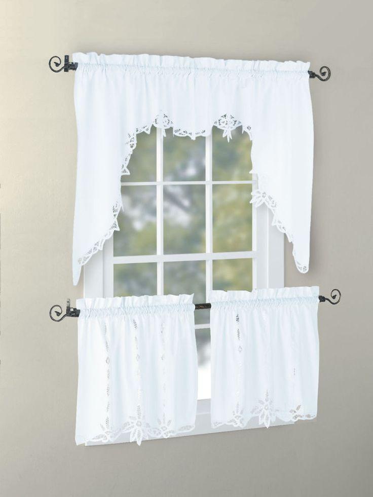 Cotton Handmade Battenburg Lace Valance Swag Tier White Ecru Euphoria Home  Battenburg Valance